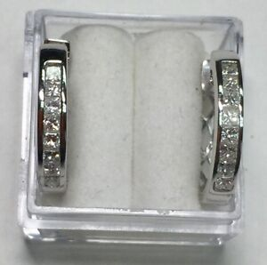 34 ct natural (REAL) 16- DIAMOND princess hoop earrings 14k white GOLD 34 inch