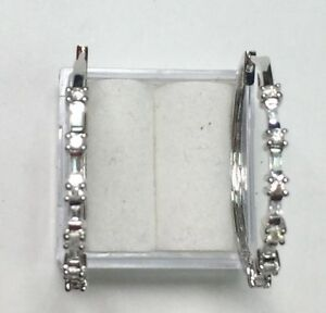 natural (REAL) 22- DIAMOND hoop  earrings SOLID 18k white GOLD -1