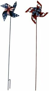 Outdoor Multi Colored Metal Garden Wind Spinner July 4th Decor 36quot;H Set of 2 $29.99