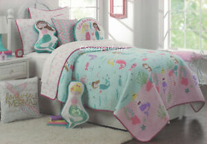 3-pc ❤ LET'S BE MERMAIDS ❤ Full/Queen Quilt Set Seahorse Starfish Pink Green
