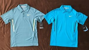 2 NWT Nike DRI-FIT short-sleeve tennis polo collar sport SHIRTS youth BOYS M lot