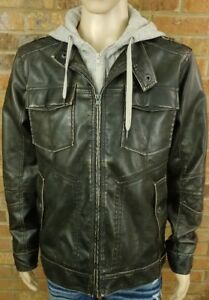 Men's BKE Faux Leather Layered Hoodie Bomber Jacket Coat Brown Athletic Fit L