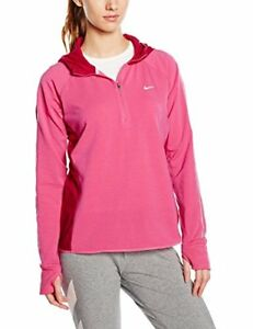 NIKE Women's Long-Sleeved T-Shirt Dri-Fit Sprint Half Zip Hoodie Hot Pink  ...