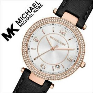 new + box women's MICHAEL KORS MK2462 MINI PARKER Black Leather Bracelet WATCH