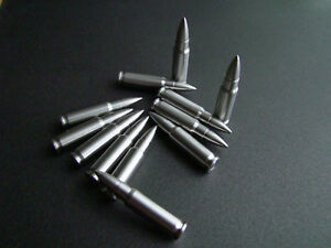 FN 5.7x28mm 5.7 Bullet shaped whiskey stones Stainless steel MADE IN USA 12 pk.
