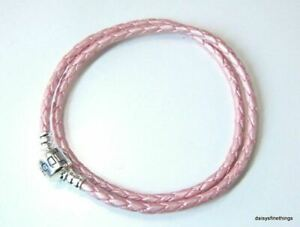 AUTHENTIC PANDORA BRACELET DOUBLE BRAIDED LEATHER PINK  #590705CMP-D1 35CM6.9IN
