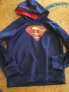 Boys Under Armour Storm Coldgear Blue Superman Pullover Sweatshirt Hoodie YL