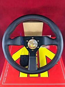 MOMO Monte Carlo 320MM Black Leather Red Stitch Steering Wheel  MCL32BK3B