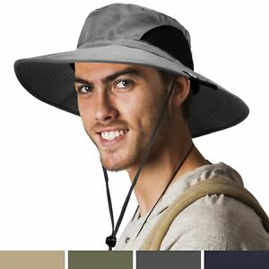 Premium Outdoor Sun Boonie Hat With Wide Brim Adjustable Chin Strap for ... New