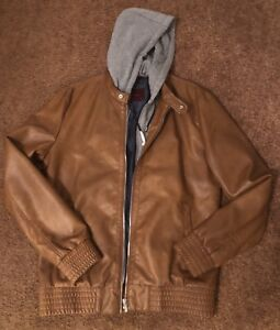 Zara Man Faux Leather Bomber Jacket with Ribbed Trims and Hoody Brandy Sizes L
