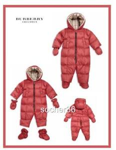 BURBERRY INFANT SKYLAR DOWN HOODED SNOWSUIT PEONY ROSE SIZE 12 MONTHS NWT $350 $242.22
