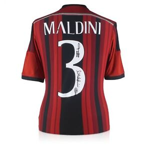 Paolo Maldini Signed 2014-15 AC Milan Adidas Home Shirt  Autographed Jersey