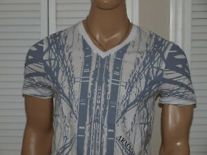 Armani Exchange Authentic Exploded Graphic V Neck Slim Fit T Shirt White NWT