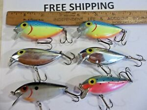 Lot of 6 Storm Pre-Rapala Rattlin Thin Fin VINTAGE CRANKBAITS FISHING LURES USED