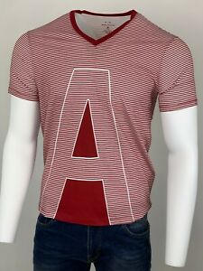 Armani Exchange Authentic Striped  AX V Neck Regular Fit T Shirt WhiteRhubarb