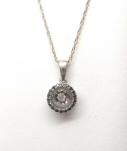 10K WHITE GOLD ROUND BLACK DIAMOND NECKLACE RETAIL $495 JG1