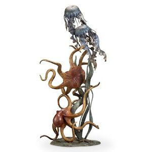 Octopus Jellyfish Undersea Wonders Quartet Sculpture Brass Sea Life Statue 50