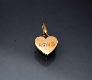 14K Solid Yellow Gold Created Diamond Heart Love Small Charm Pendant Necklace