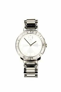 Movado Womens Bold Stainless Steel Silver Bracelet Baguette Crystal Watch 134591