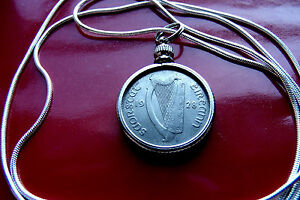 Very Fine 1928 Irish Sixpence Pendant Antique on a 18quot; .925 Silver Snake Chain $49.00