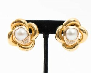 Large 18K Yellow Gold 14mm Pearl & Diamond Flower Design Earrings 34.5mm