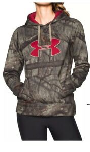 UNDER ARMOUR Women's Mossy Oak ColdGear Loose Fitted Hoodie Camo Size X-L $74.99