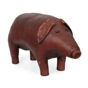 Circa 1960s Dimitri Omersa for Abercrombie & Fitch Leather Pig Footrest Ottoman