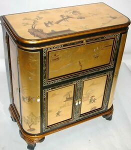 Oriental furnituer Bar Cabinet Chinese gold lead lacquer furniture