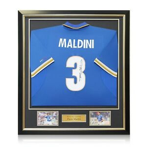 Paolo Maldini Signed 1996-97 Italy Nike Home Shirt In Deluxe Black Frame