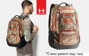 Under Armour UA Camo Hustle Backpack 1247302 Realtree Ap Xtra 946 Dynamite NWT
