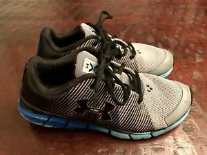 Under Armour Boys Size 3 Youth Scramjet Shoes Gray Black Blue