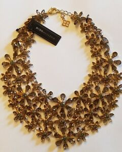 BCBG MAX AZRIA FLORAL GLASS STONE STATEMENT  NECKLACE