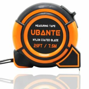 NEW UBANTE Orange Measuring Tape Measure 1 Inch x 25 Foot Retractable Heavy Duty