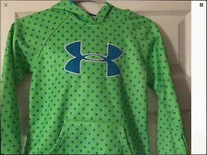 GIRLS YMD UNDER ARMOUR HOODIE GREEN WITH BLUE LOGO & POLKA DOTS