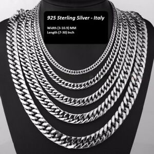 Solid 925 Sterling Silver Curb Cuban Chain Necklace For Men Women Made In Italy