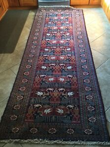 Antique Turkish Wool Runner Rug Carpet with Birds and Goats 10' by 3.5'