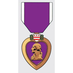 PURPLE HEART COMBAT WOUNDED DECAL STICKER