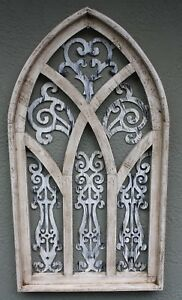 Wooden Antique Style Church WINDOW Frame Primitive Wood Gothic 30 1 2quot; Shabby $29.99