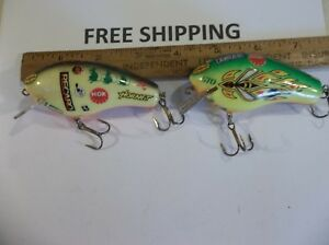 RARE SET OF BAGLEY ALL BRASS SQUARE BILL ADVERTISEMENT LURES MAY BE THE ONLY 2 ?