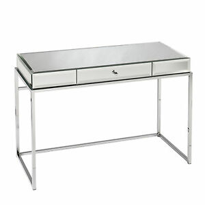 JCD47529 CHROME  MIRRORED COMPUTER DESK WITH KEYBOARD DRAWER
