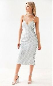 Dress the Population Nina Sequined Bodycon Midi Cocktail Silver White Dress SZ S