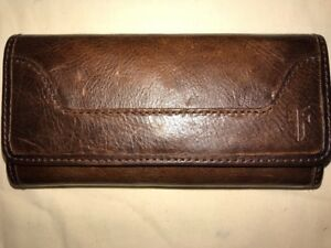 Frye Women's Melissa Tri-Fold Antique Leather Wallet Dark Brown NWT