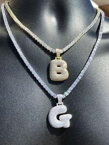 Bubble Letters Initial Pendant 925 Silver Diamond Iced Out A B C D E F  W. Chain