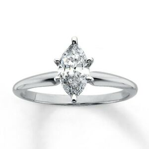 1 Ct Marquise Cut Solitaire Diamond Engagement Promise Ring Solid 14K White Gold