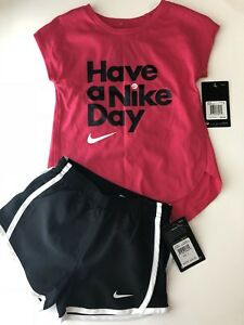 NWT Nike Girls Outfit Tempo Dri-Fit Active Athletic Shorts T-shirt Pink Black 5