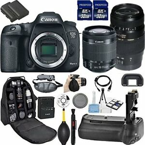 Canon EOS 7D Mark II DSLR Camera + Cleaning Kit (3) 18-55mm + 70-300mm Kit)