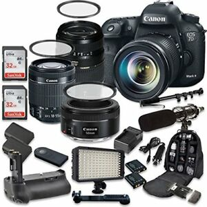 Canon EOS 7D Mark II 20.2MP CMOS Digital SLR Camera with (3) Lenses + Kit
