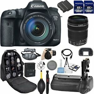 Canon EOS 7D Mark II DSLR Camera + Deluxe Accessory Kit