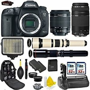 Canon EOS 7D Mark II DSLR Camera + (4) Lenses + Accessory Bundle