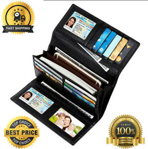 Womens Mens wallet credit card Blocking Real Leather Trifold Clutch Checkbook